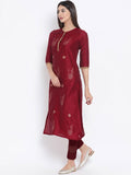 Cotton Silk Hand Block Printed Embellished Kurta