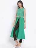 Crepe & Net Sequins Embellished High Slit Kurta