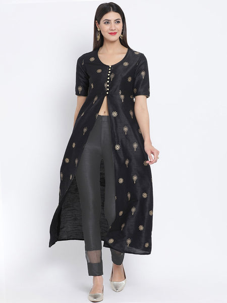 Dupion Hand Block Printed High Slit Jacket Kurta