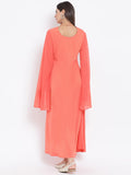 Crepe & Net Sequins Embroidered Long Sleeve Maxi Kurta