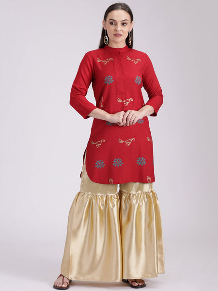 Cotton Viscose Hand Block Printed Placket Kurti
