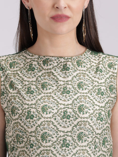 Cotton Viscose Overskirt Hand Block Printed Kurta