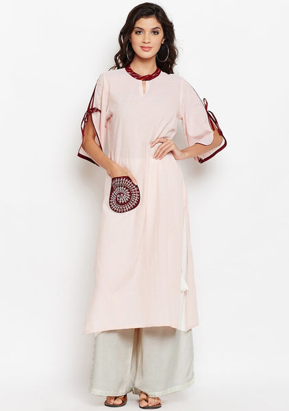 Studiorasa Chambray Block Printed Pocket Kurta
