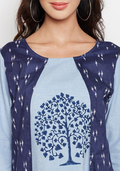 Studiorasa Chambray Cotton Block Printed Faux Layered Kurta