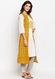 Studiorasa Cotton Slub Block Printed Faux Layered Kurta