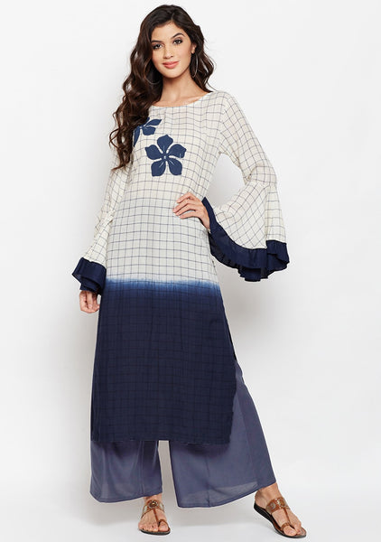 Studiorasa Cotton Checks Dip-Dye Block Printed Kurta