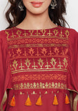 Studiorasa Cotton Viscose Block Printed Cape Sleeves Kurta