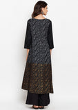 Studiorasa Cotton Viscose Block Printed Faux Layered Kurta