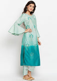 Studiorasa Cotton Silk Block Printed Dip-Dye Kurta