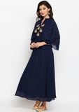 Georgette Block Printed Sequinned Maxi Kurta