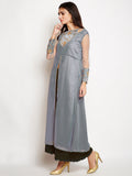 Georgette Embroidered High Slit Maxi Kurta