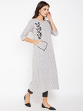 Cotton Stripe Block Printed Pocket  Kurta