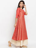Cotton Silk Block Printed A-Line Kurta