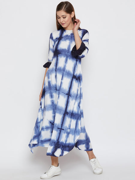 Cotton Viscose Tie & Dye Ruffle Sleeve Kurta
