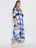 Cotton Viscose Tie & Dye Ruffle Sleeve Dress