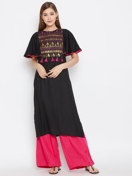 Cotton Viscose Hand Block Printed Cape Sleeve Kurta