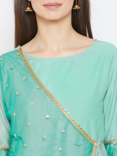 Cotton Silk & Net Embroidered Angrakha Kurta