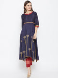 Cotton Silk Asymmetric Hand Block Printed Kurta