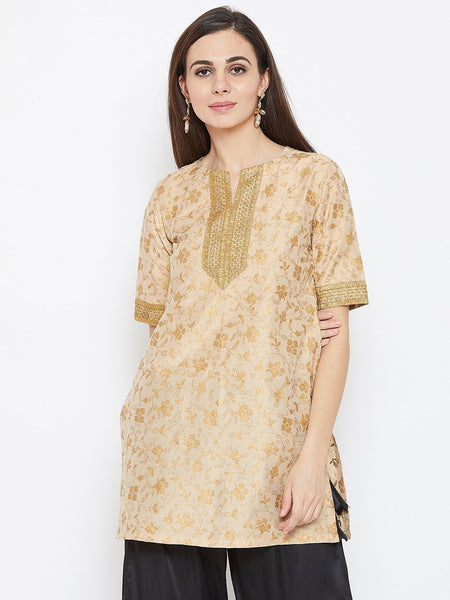 Cotton Silk Hand Block Printed Short Kurta