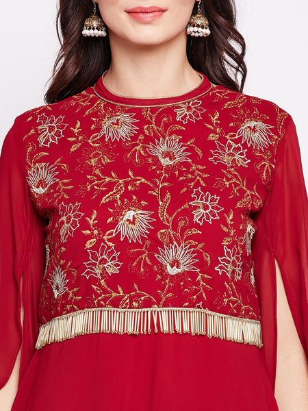 Georgette Embroidered Long Sleeves Kurta