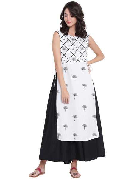 Flex Viscose Hand Printed Layered Kurta Set