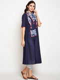 Cotton Slub A-line Neck Scarf Kurta
