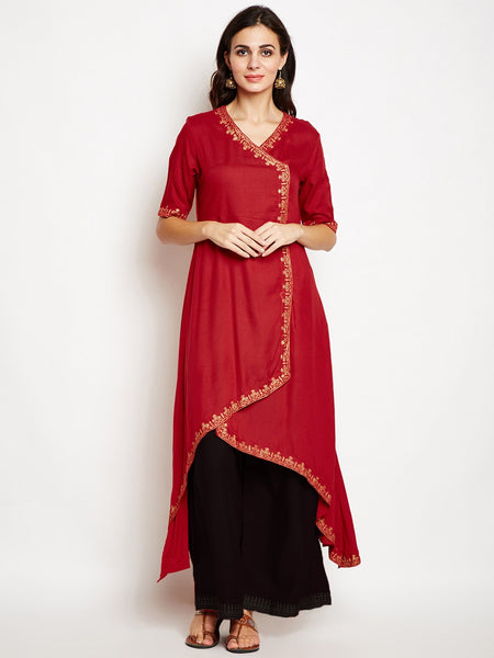 Cotton Viscose Block Printed Asymmetric Kurta