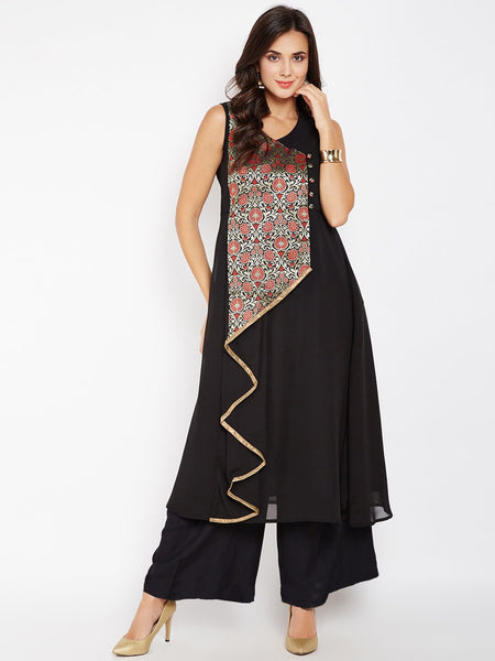 Faux Brocade & Georgette Waterfall Kurta