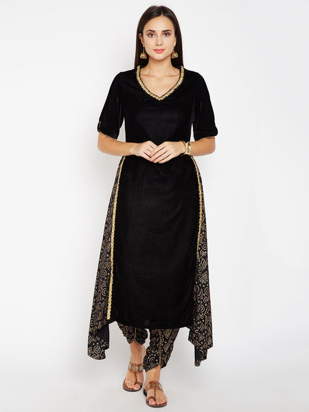 Faux Velvet and Viscose Embellished Kurta