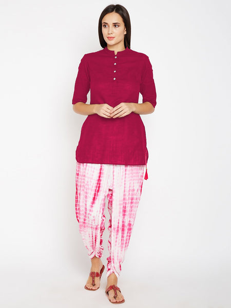 Cotton slub Placket Short Kurta