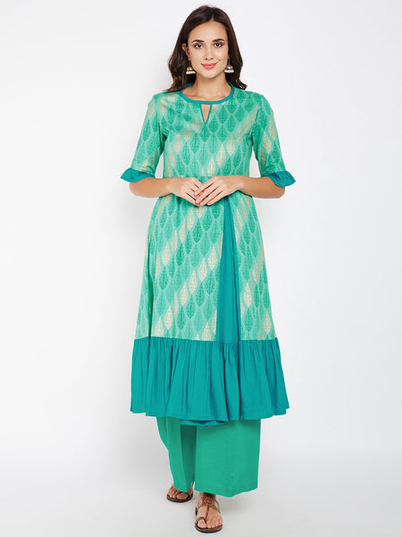 Cotton Cambric Block Printed Ruffle Kurta