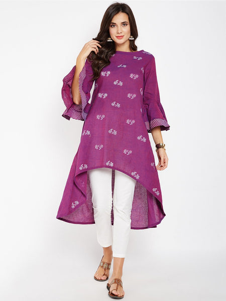 Mangalgiri High Low Block Printed Kurta