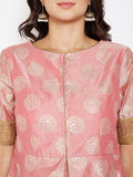 Faux Chanderi Foil Printed Faux Layered Kurta