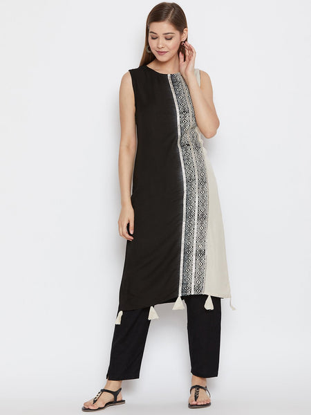 Cotton Viscose Hand Block Printed Embellished Kurta