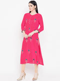 Viscose Block Printed Gota Placket Kurta