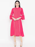 Viscose Block Printed Panelled Kurta