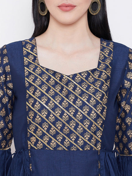 Silk Block Printed Gota Work Bell Sleeves Kurta