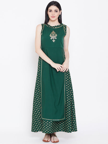 Crepe Block Printed Attatched Layered Maxi Kurta