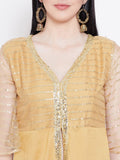 Silk & Net Sequins High slit Kurta