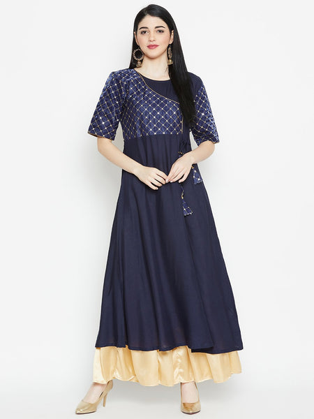 Viscose & Silk Embroidered Angrakha Yoke Kurta
