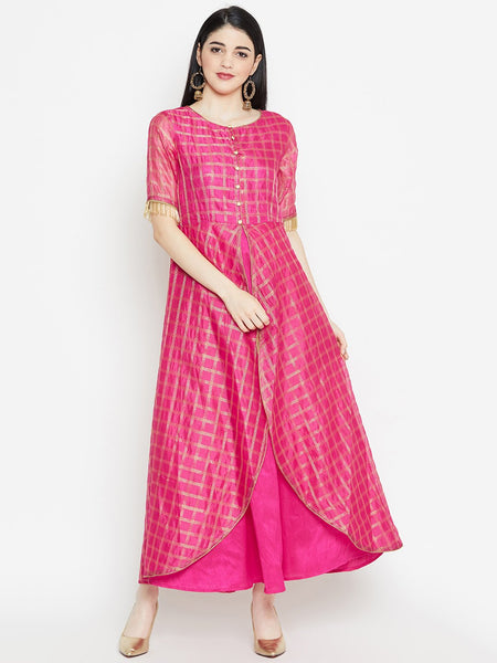 Chanderi Checks Attatched Layered Maxi Kurta