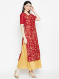 Silk Block Printed Attatched Layered Maxi Kurta