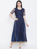 Net Embroidered and Silk Attatched Layered Embellished Maxi kurta
