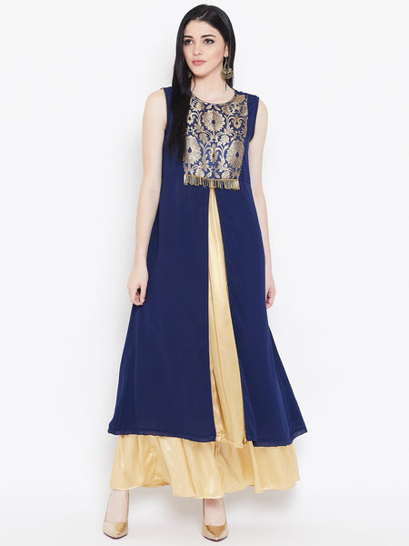 Georgette Brocade High Slit Maxi Kurta