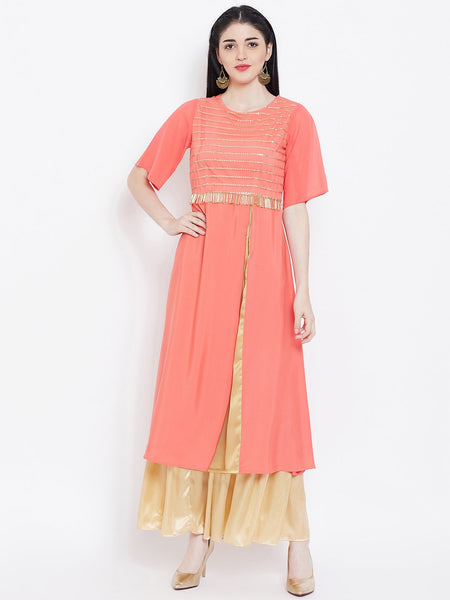Crepe and Net Sequins Embellished Kurta