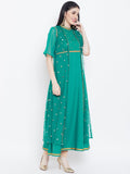 Crepe & Net Sequins Embroidered Attached Shrug Maxi Kurta
