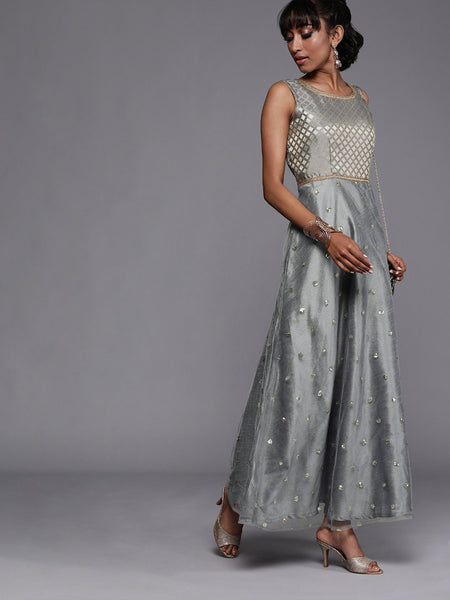 Brocade and Net Sequins Embroidered Maxi Kurta
