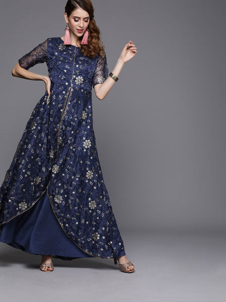 Organza Embroidered Attatched Layered Maxi Kurta