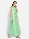Dupion Embroidered and Net Pearl Embellished Maxi Kurta