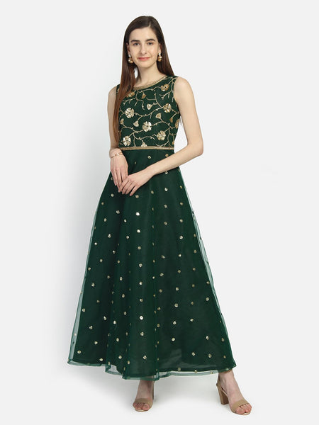 Net Sequin Embroidered Embellished Maxi Kurta